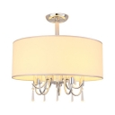 Fabric Drum Shade Semi Flush Mount Light 5 Lights Modern Ceiling Lamp with Crystal in White for Hotel