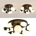 Traditional Oval Shade Semi Flushmount 3/5/7 Lights Frosted Glass Ceiling Light in White for Bedroom