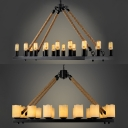 Industrial Black Island Lamp Open Bulb/Candle 10 Lights Metal Pendant Light for Cafe