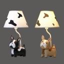 1 Light French Bulldog Desk Light Animal Resin Dimmable LED Reading Light in Black/Brown for Bedroom