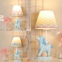 Cartoon Unicorn LED Desk Light Dimmable Resin 1 Light Blue Plug In Reading Lamp for Boy Bedroom