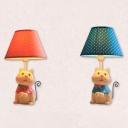 Lovely Blue/Pink LED Desk Light Toy Cat 1 Light Fabric Reading Lamp for Boy/Girl Bedroom