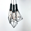 Vintage Wire Frame Suspension Light Metal 3 Lights Black Hanging Light for Dining Room