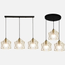 Cloth Shop Cage Hanging Light Metal 3 Lights Industrial Gold Pendant Lamp with Linear/Round Canopy