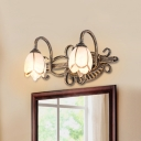 Lotus Shade Bathroom Vanity Light Metal 2/3 Lights Vintage Style Rust-Proof Wall Light in Bronze