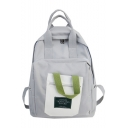Simple Letter Pattern Colorblock pocket Patched Big Capacity Canvas Travel School Bag Backpack 41*30*12 CM