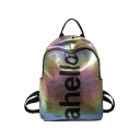 Trendy letter Tie Dyeing printed Soft Synthetic Leather Leisure Bag School Backpack 38*28*12 CM