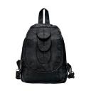 New Women's Leaf Embellishment Waterproof PU Leather Backpack 27*22*15 CM