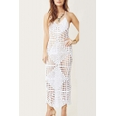 Sexy V-Neck Sleeveless Hollow Out Crochet Open Back Maxi White Bikini Cover Up Cami Dress