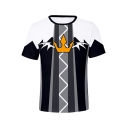 New Trendy Comic Anime Cosplay Costume Crown Printed Short Sleeve Round Neck T-Shirt