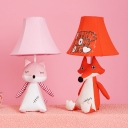 Sitting/Sleeping Fox Bedroom Desk Lamp Fabric 1 Light Animal Study Light with Plug In Cord