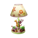 Animal Girl Bedroom Reading Light with Flower Wood 1 Light Cartoon Desk Light in Pink