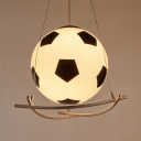 Sports Football Hanging Lamp Glass 1 Head Black and White Suspension Light for Kindergarten