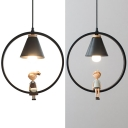 Metal Cone Shade Hanging Light 1 Light Modern Pendant Lamp with Little Boy/Girl in Black for Bedroom