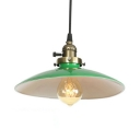 Industrial Saucer Shade Hanging Lamp Metal 1 Light Green Suspension Light for Dining Room