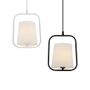 Dining Room Sky Lantern Metal Fabric Single Light Simple Style Black/White Pendant Light