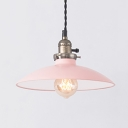 Antique Style Blue/Pink Ceiling Light Domed Shade 1 Light Metal Hanging Lamp for Study Room
