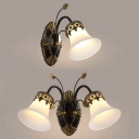 White Bell Shade Sconce Light 1/2 Lights Traditional Frosted Glass Wall Lamp with Leaf for Foyer