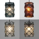 Foyer Cylinder Shade Hanging Lamp Glass Panel Single Light Antique Style Pendant Light