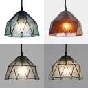 Traditional Bowl Shade Pendant Light Faceted Glass 1 Light Hanging Light for Study Room