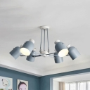 Modern Gray/Green/White Chandelier Rotatable Cup Shade 6 Lights Metal Hanging Light for Living Room