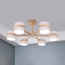 6 Lights Drum Chandelier Nordic Style Wood Suspension Light in Gray/Green/White for Dining Room