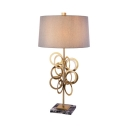 Living Room Drum Shade Reading Light Linen 1 Light Art Deco Gray Desk Light with Ring Decoration