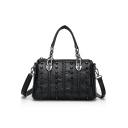 Trendy Solid Color Rivet Embellishment Black Leather Satchel Handbag Shoulder Bag 26*12*16 CM