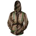 Fashion Comic Cosplay Costume 3D Printed Long Sleeve Zip Up Khaki Hoodie
