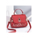 New Fashion Floral Embroidery Double Zipper Side Metal Buckle Work Satchel Shoulder Bag