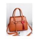Women's Stylish Plain Belt Buckle Heart Tassel Embellished Satchel Shoulder Handbag 31*15*23 CM