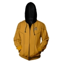 Cool Comic Logo Cosplay Costume Long Sleeve Zip Up Relaxed Fit Khaki Hoodie