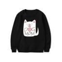 Cute Cartoon Cat DOG MOM Pattern Basic Round Neck Long Sleeve Pullover Sweatshirt