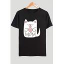 Popular Cute Cat Letter DOG MOM Pattern Basic Round Neck Short Sleeve Cotton Tee