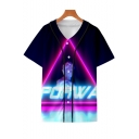 Popular Vaporwave Cool 3D Printed V-Neck Short Sleeve Button Down Baseball Shirt