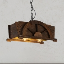Wood Rectangle Suspension Light Shop Restaurant 2 Lights Industrial Chandelier in Brown