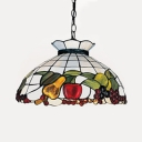 Tiffany Rustic White Hanging Lamp Bowl Shade 1 Light Stained Glass Ceiling Pendant with Fruit for Hallway