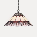 1 Light Peacock Tail Pendant Light Tiffany Style Glass Hanging Light in Beige for Corridor