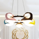 Creative Multi-Color Chandelier Third Gear/Stepless Dimming 5 Heads Acrylic Pendant Light for Bedroom