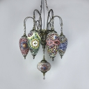 Glass Oval & Teardrop Chandelier 7 Lights Moroccan Mosaic Hanging Light for Living Room