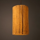Tree Stump Pendant Light Retro Loft Cement Hanging Light in Yellow for Restaurant Cloth Shop