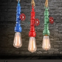 Iron Water Pipe Pendant Light Cafe One Light Retro Loft Suspension Light in Blue/Green/Red
