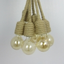 Hemp Rope Orb Pendant Lighting Dining Table 6 Lights Rustic Style Ceiling Light in Beige