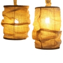 Villa Restaurant Cylinder Hanging Lamp Fabric 1 Light Asian Style Suspension Light