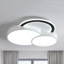 Kid Bedroom Circle Flush Light Acrylic Modern LED Ceiling Mount Light in Warm/White/Third Gear