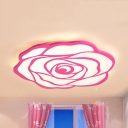 Pink Bloom LED Ceiling Mount Light Romantic Acrylic Flush Light in Warm/White for Girl Bedroom