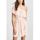 Summer Pink Striped Printed One Shoulder Tied Waist Mini A-Line Dress
