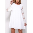 Fashion Sheer Mesh Panel Long Sleeve Round Neck Mini Casual Swing Dress