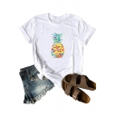 Trendy Chic Colorful Pineapple Painting Round Neck Short Sleeve Casual Tee