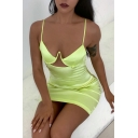 Womens Summer Sexy Cutout Front Sleeveless Light Yellow Mini Bodycon Cami Slip Dress